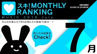 BEMANI Fan Site MUSIC 2019 July スキ! MONTHLY RANKING