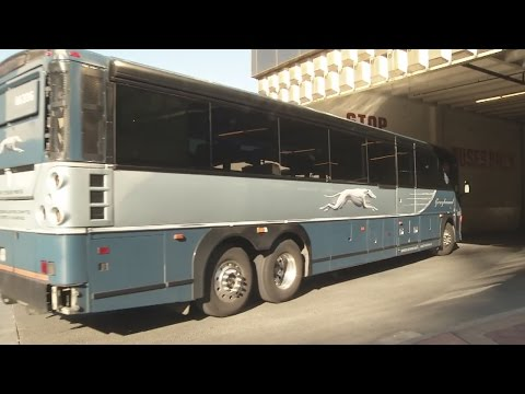Greyhound bus finally arrives after hot journey