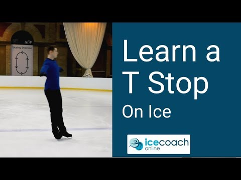 Easy Way of Stopping on Ice for Beginners (T-Stop)! Ice Skating Lesson by Ice Coach Online!