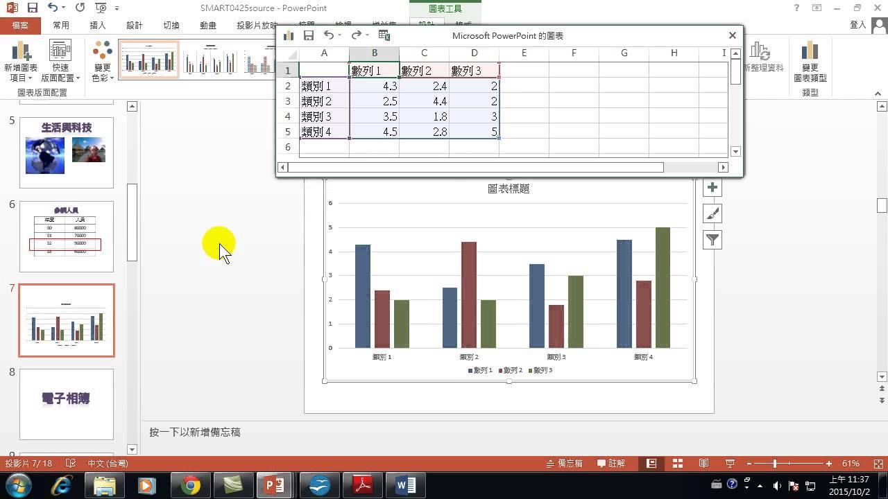 16.統計圖表 簡報中製作一張簡單的統計圖表(閃耀簡報 ppt製作 PowerPoint 2013) - YouTube