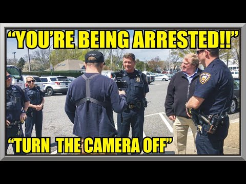 """ YOU'RE BEING ARRESTED "" - "" Turn The Camera Off "" - East Hampton Police - First Amendment Audit 47"