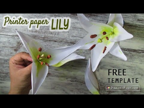 DIY Lily flower from printer paper, FREE template, SO SIMPLE