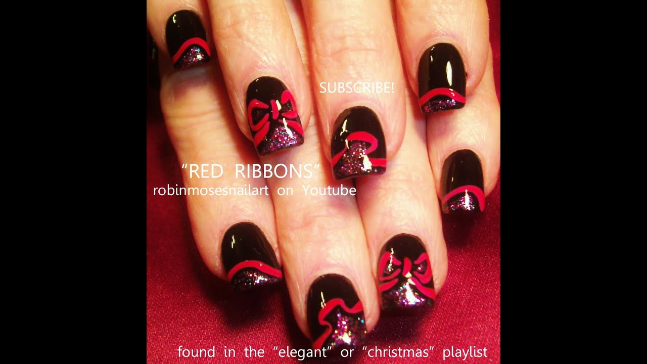 Easy Holiday Nail Art Ideas | Red Ribbon Xmas Nails Design - YouTube