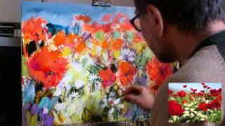 Маки. Техника многослойной быстрой современной живописи.