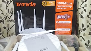 Tenda TE-FH456 Wireless N300 High Power Router with 4 Fixed Antenna : Unboxing and Feature (Hindi)