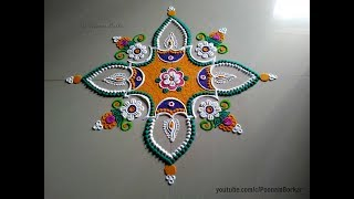 Easy and innovative diya rangoli design using fork and bangles | Easy Rangoli designs with colors