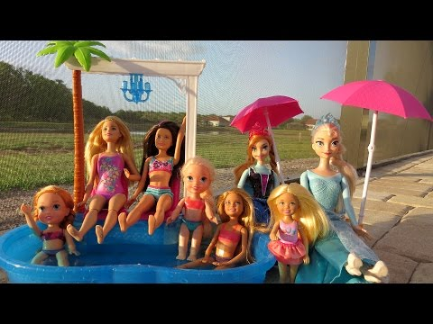 POOL Fun ! Ice Prank - Elsa & Anna toddlers - Barbie's New Car - Swimming - Splash - Water - Slide