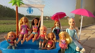 POOL Fun ! Ice Prank - Elsa & Anna toddlers - Barbie's New Car - Swimming - Splash - Water