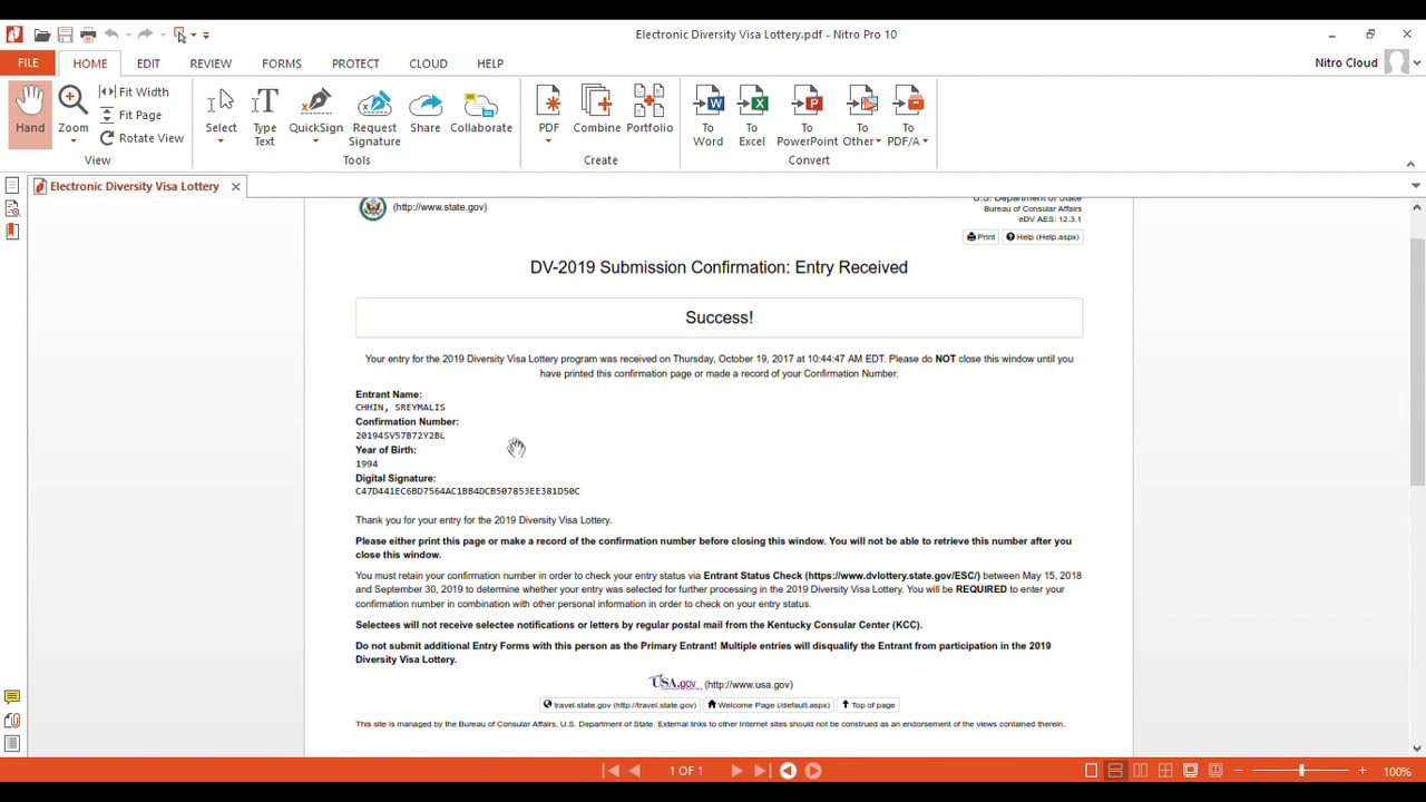Electronic Diversity Visa Lottery part 3 (end) - YouTube