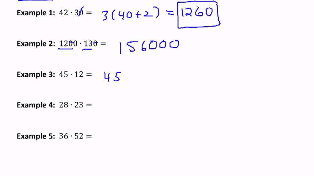 Mental Math - Multiplication by Easy Number and the Distributive ...