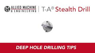 Through-coolant evacuates chips as one of Allied Machine & Engineering's guided T-A drills goes to work on a 48-inch-deep hole intersected by 11 cross holes.