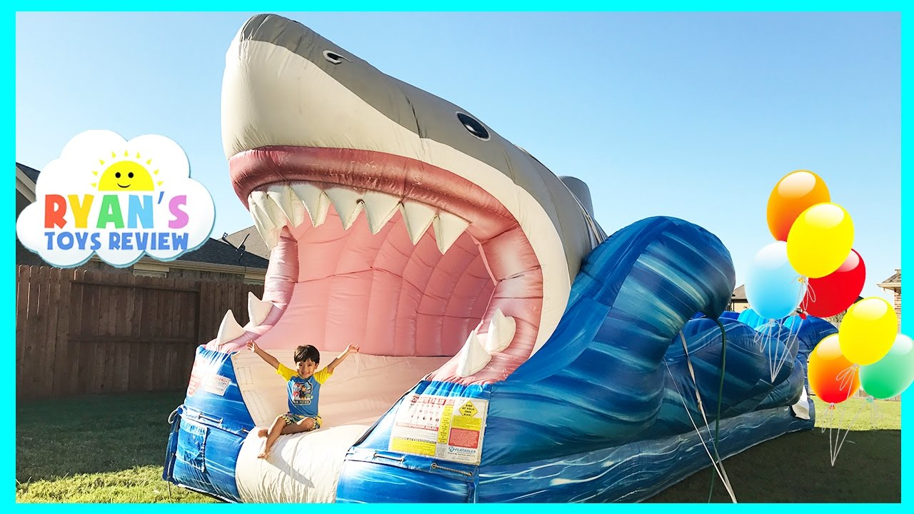 giant inflatable shark water slide for kids toys family fun giant slip n slide party ryan toysreview youtube - Blow Up Water Slides