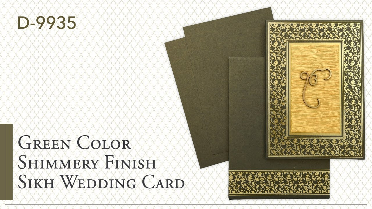 d9935 green color shimmery finish paper sikh cards