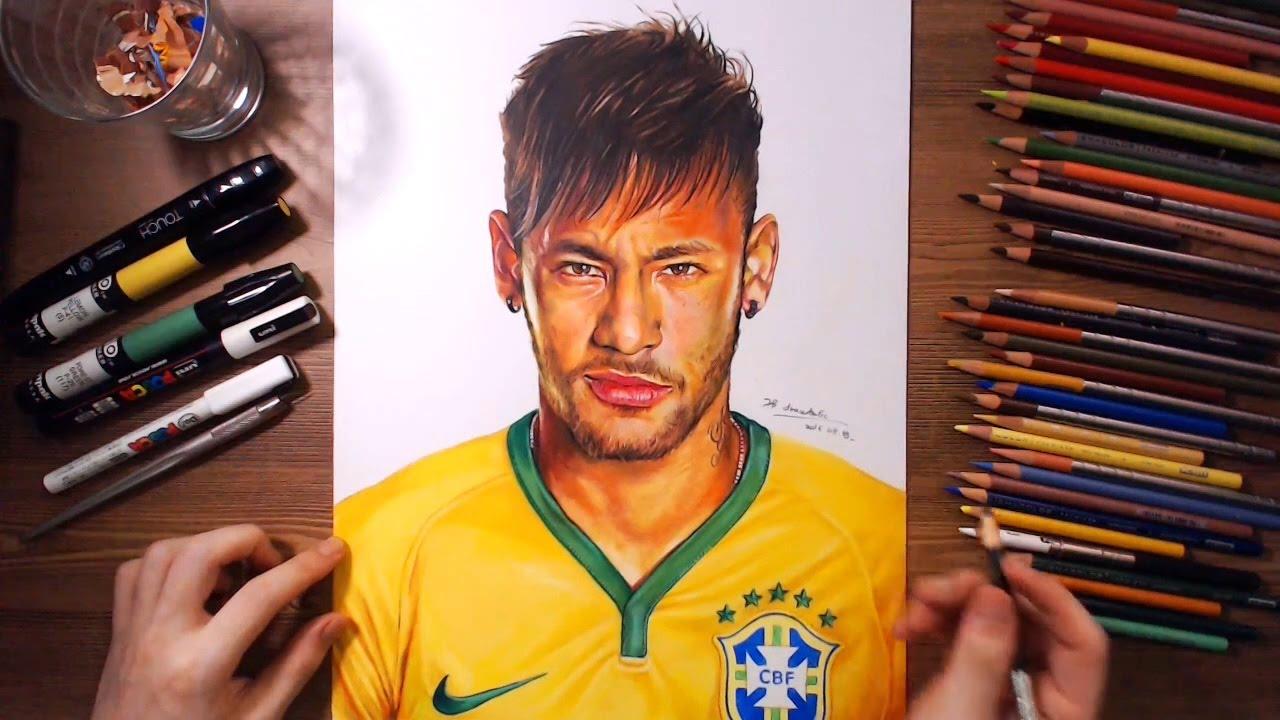 Neymar júnior speed drawing drawholic youtube
