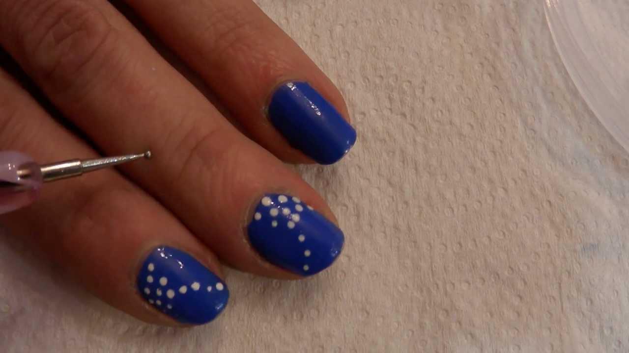 Tutorial Unas Nail Art Nº 65 Tutorial Facil Puntos Azul Y Blanco