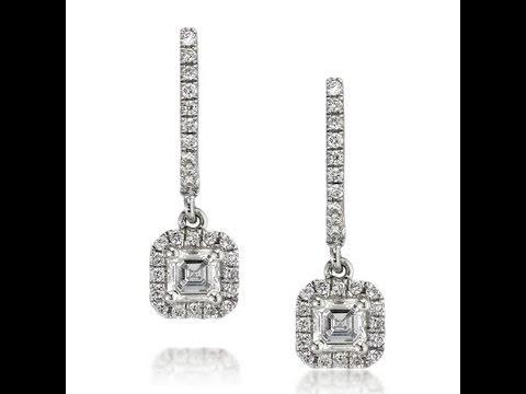 0.90ct Asscher Cut Diamond Dangle Earrings-Mark Broumand
