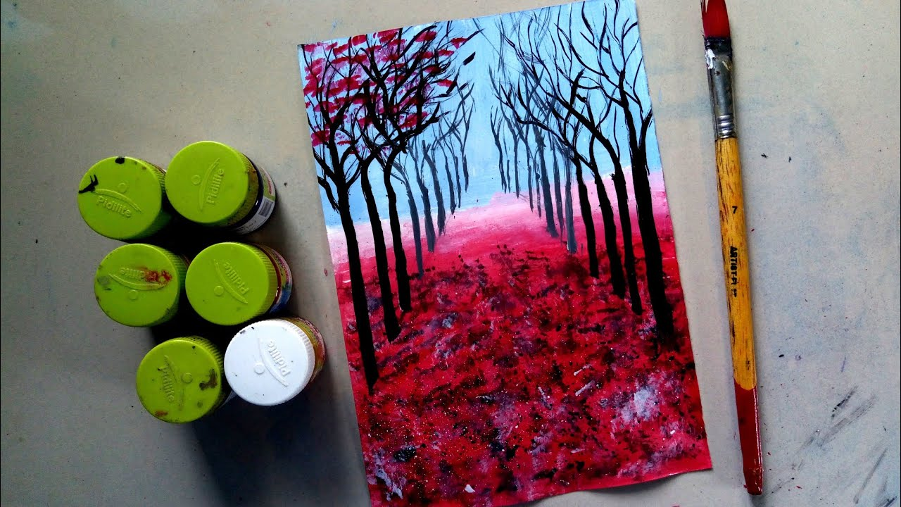 Autumn Scenery Drawing With Poster Colour Poster Colour Painting Youtube