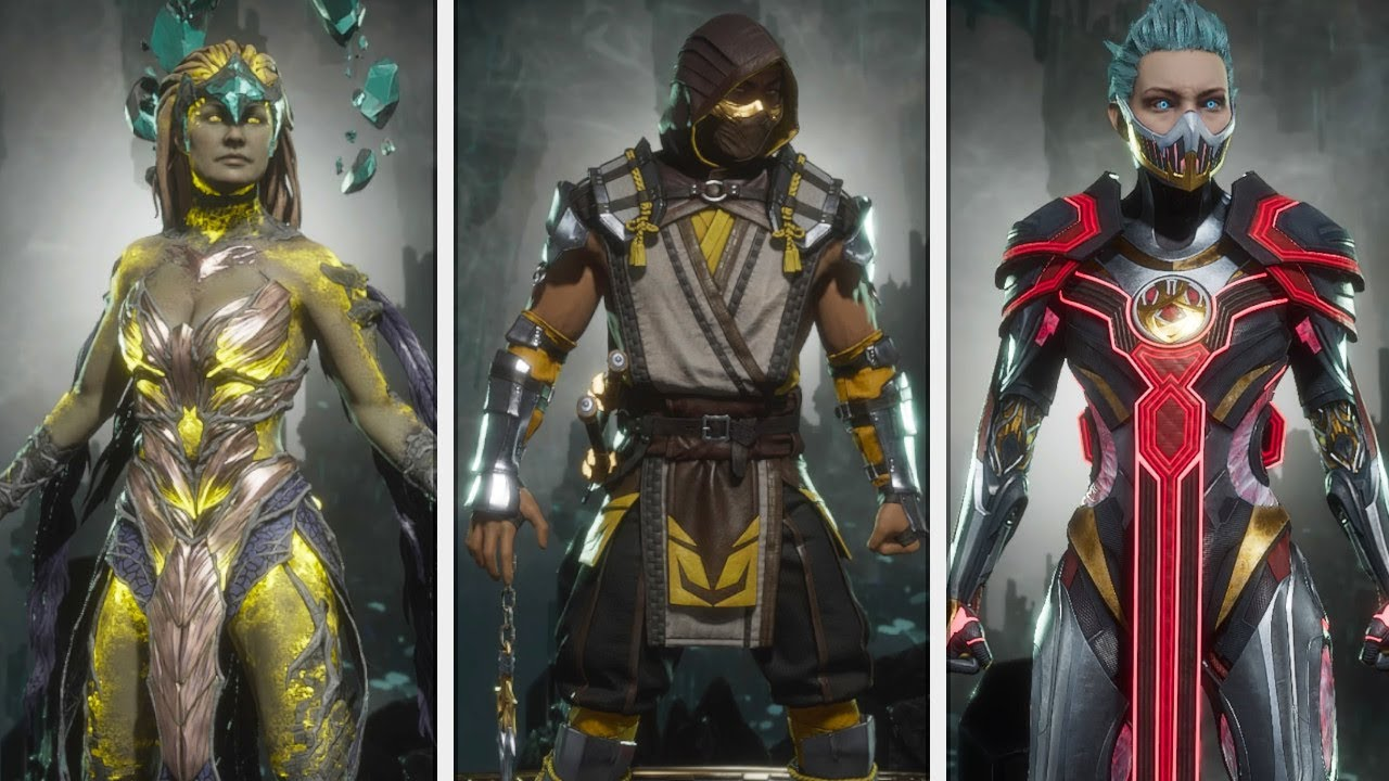 Mortal Kombat 11 All Character Outfits Costumes Skins Showcase Youtube
