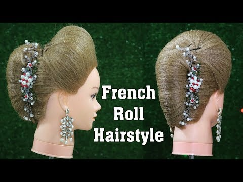french roll with puff  hairstyle  stepstep easy