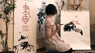 Уроки по рисованию лотоса 荷花 в китайской живописи и живописи у-син Урок 3 Лотос на вертикали