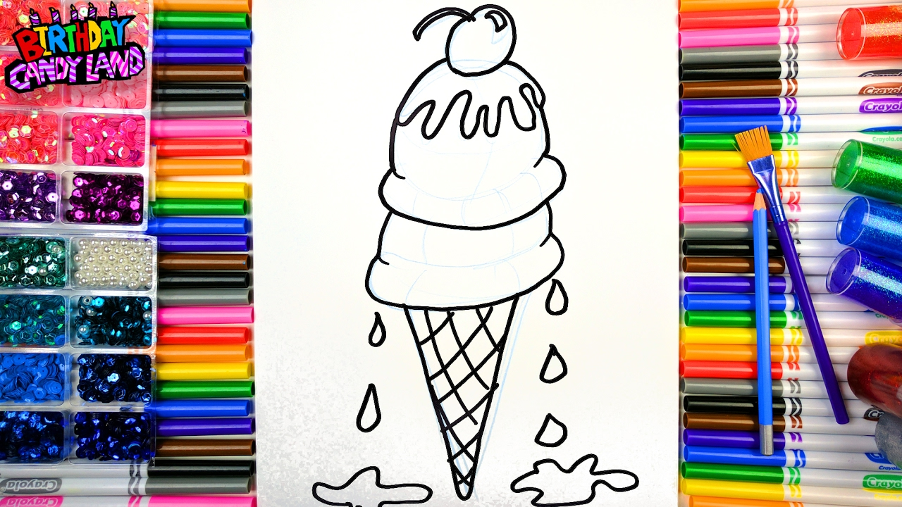 coloring for kids learn to color and color double ice cream cone