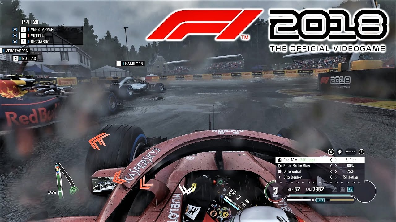 f1 2018 heavy rain at spa 25 race 4k ultra graphics gameplay youtube. Black Bedroom Furniture Sets. Home Design Ideas