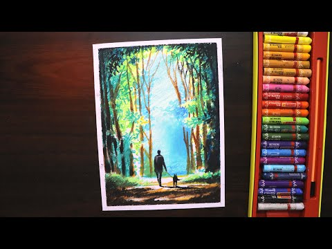 oil-pastel-drawing-for-beginners-|-scenery-drawing-of-man-walking-with-dog-in-the-woods