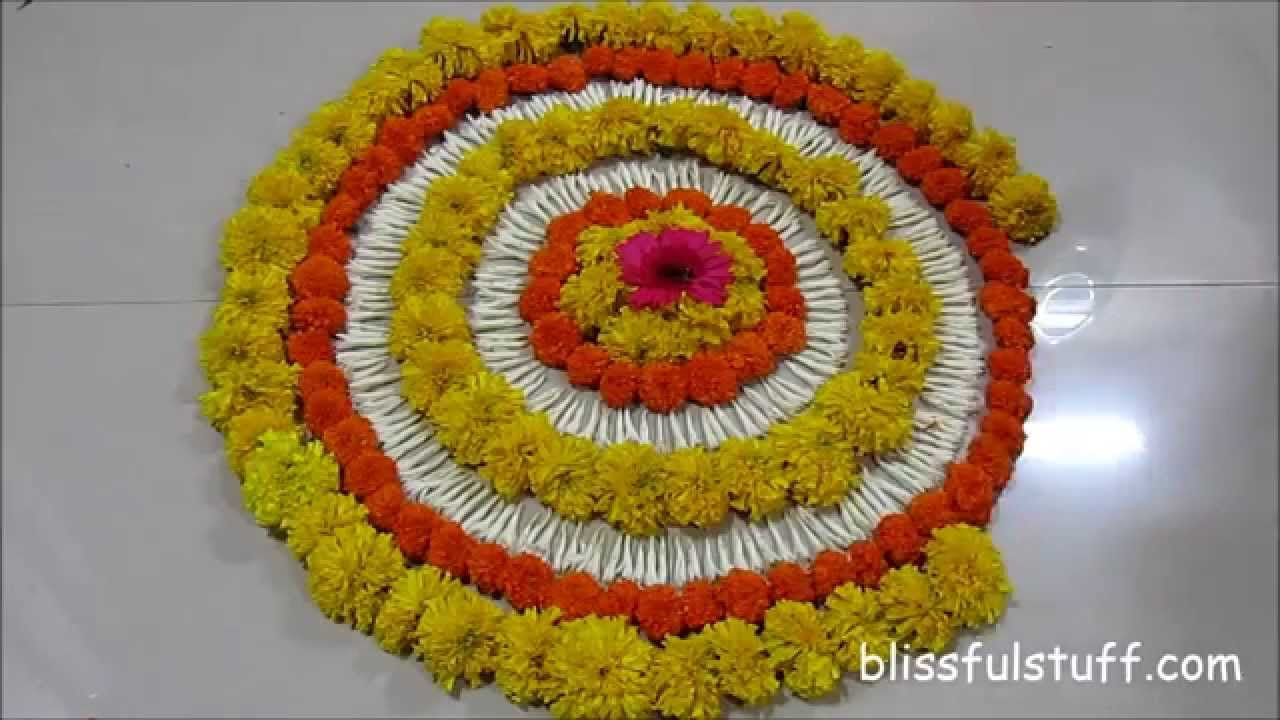 Diwali Special - Rangoli Design with marigold flowers, How to make ... for Flower Rangoli Designs For Diwali  21ane