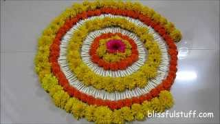 Diwali Special - Rangoli Design with marigold flowers, How to make rangoli with flowers - II