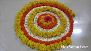 Diwali Special - Rangoli Design with marigold flowers, How to make rangoli with flowers - II