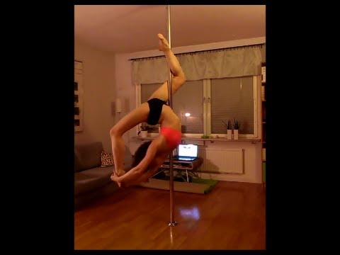 Pole dance - closed inside/outside leg hang (cocoon), spinning work