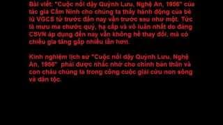 Cuộc nổi dậy Quỳnh Lưu Nghệ An 1956 Cải Cách Ruộng Ðất