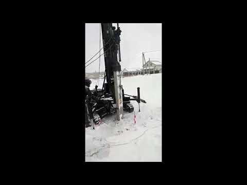 Тестовая зимняя забивка сваи 200 мм длиной 4 метра на новой установке