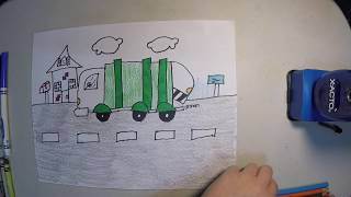 how to draw a trash truck