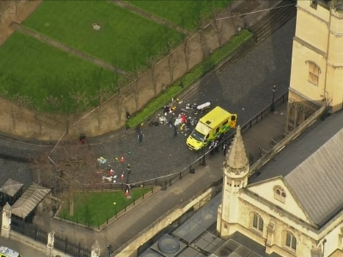 Raw: Aerials of Injured on Westminster Bridge