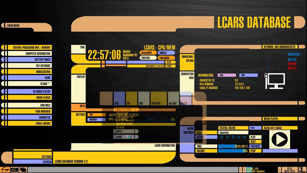 star trek the next generation desktop skins tour hd youtube