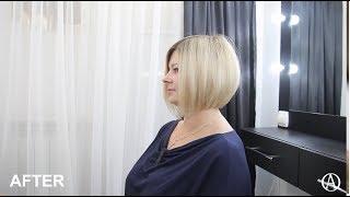 Женская стрижка боб.  Техника слои / Short women haircut . Bob haircut