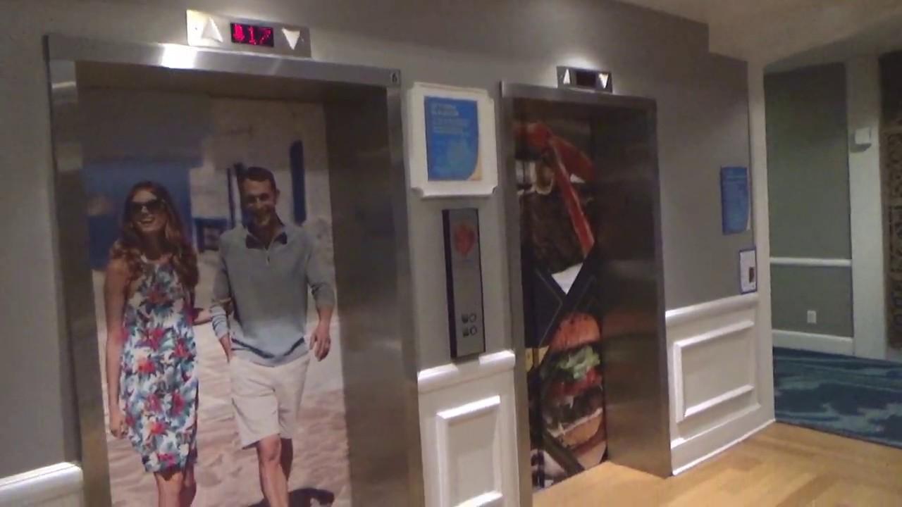 Glitchy MontgomeryKONE Traction Tower Elevators at The Wyndham Disney Springs, Lake Buena Vista, FL