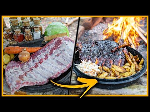 ???? XXL Sparerips, Coleslaw und Western Pommes ???? draußen kochen - Outdoor Bushcraft Deutschland