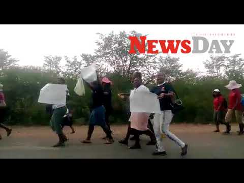 Hwange miners' wives protest over unpaid salaries