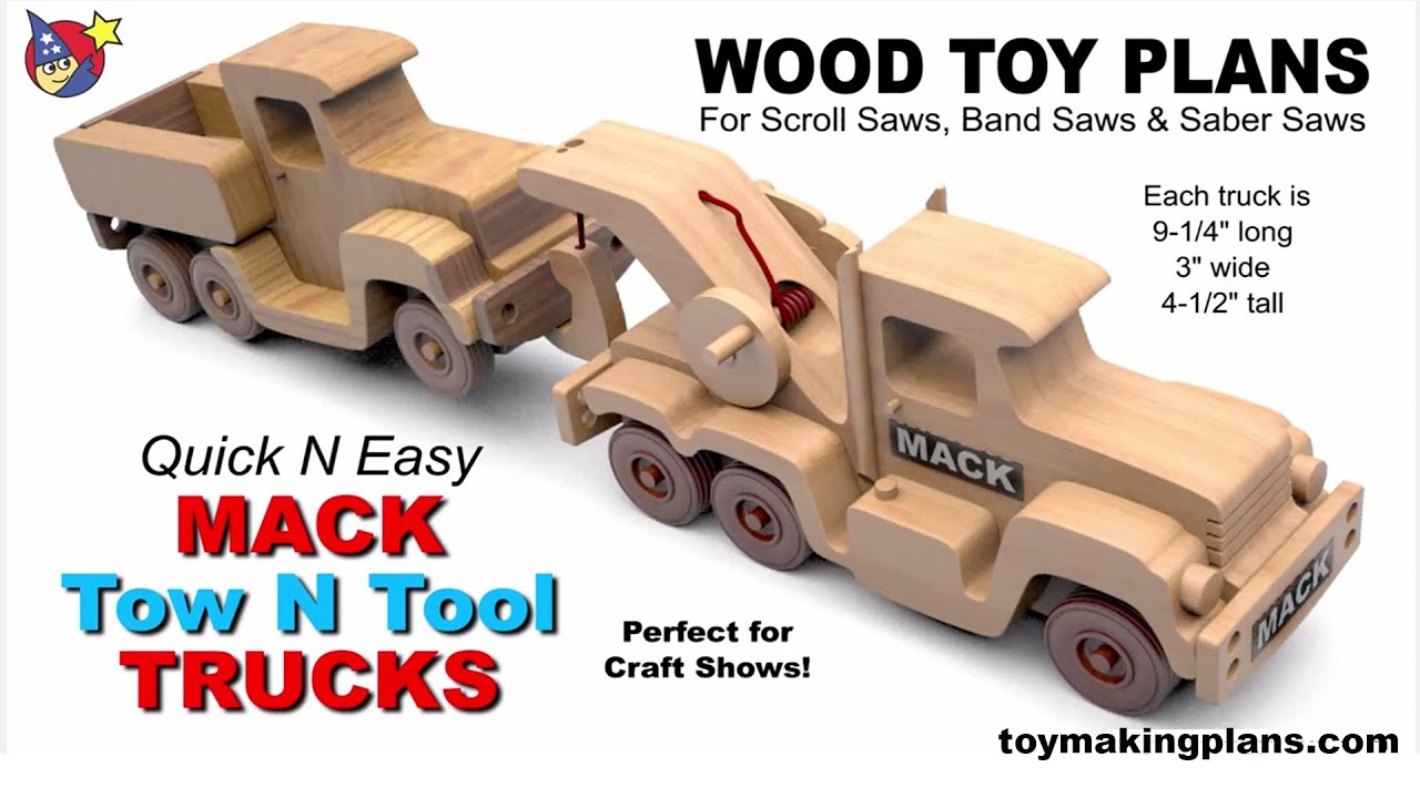 Wood Toy Plans - Quick N Easy Mack Tow N Tool Trucks - YouTube