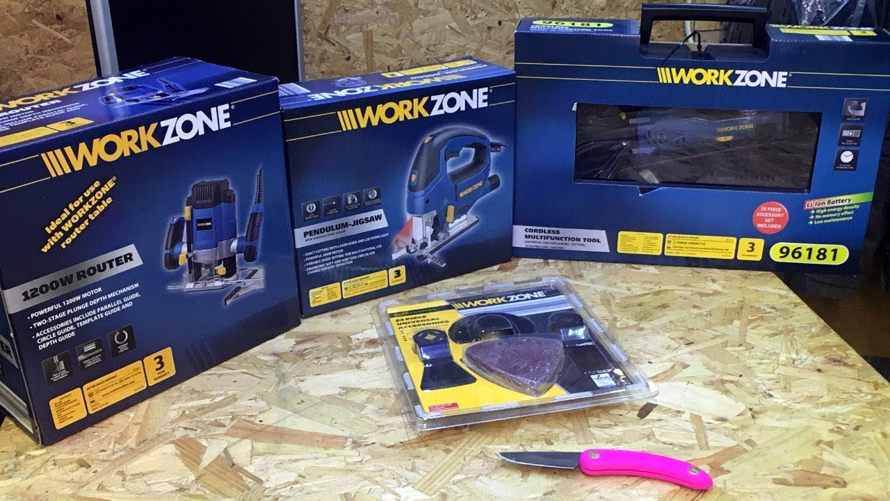 aldi workzone power tools jigsaw router multi tool testing. Black Bedroom Furniture Sets. Home Design Ideas