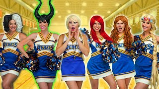 Cheerleader Team for Disney Princesses Elsa, Ariel, Rapunzel, and Tiana. With Maleficent & Cruella?