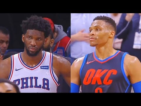 Russell Westbrook Stares Down Joel Embiid for Dunking on Him & Staring Him Down! Thunder vs Sixers