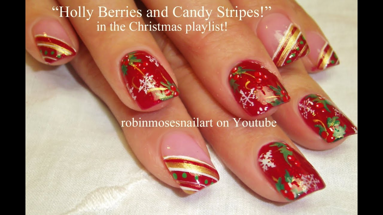 Easy Xmas Nail Art! Fun HoLiDaY Tutorial | DIY Christmas Nails Design -  YouTube - Easy Xmas Nail Art! Fun HoLiDaY Tutorial DIY Christmas Nails