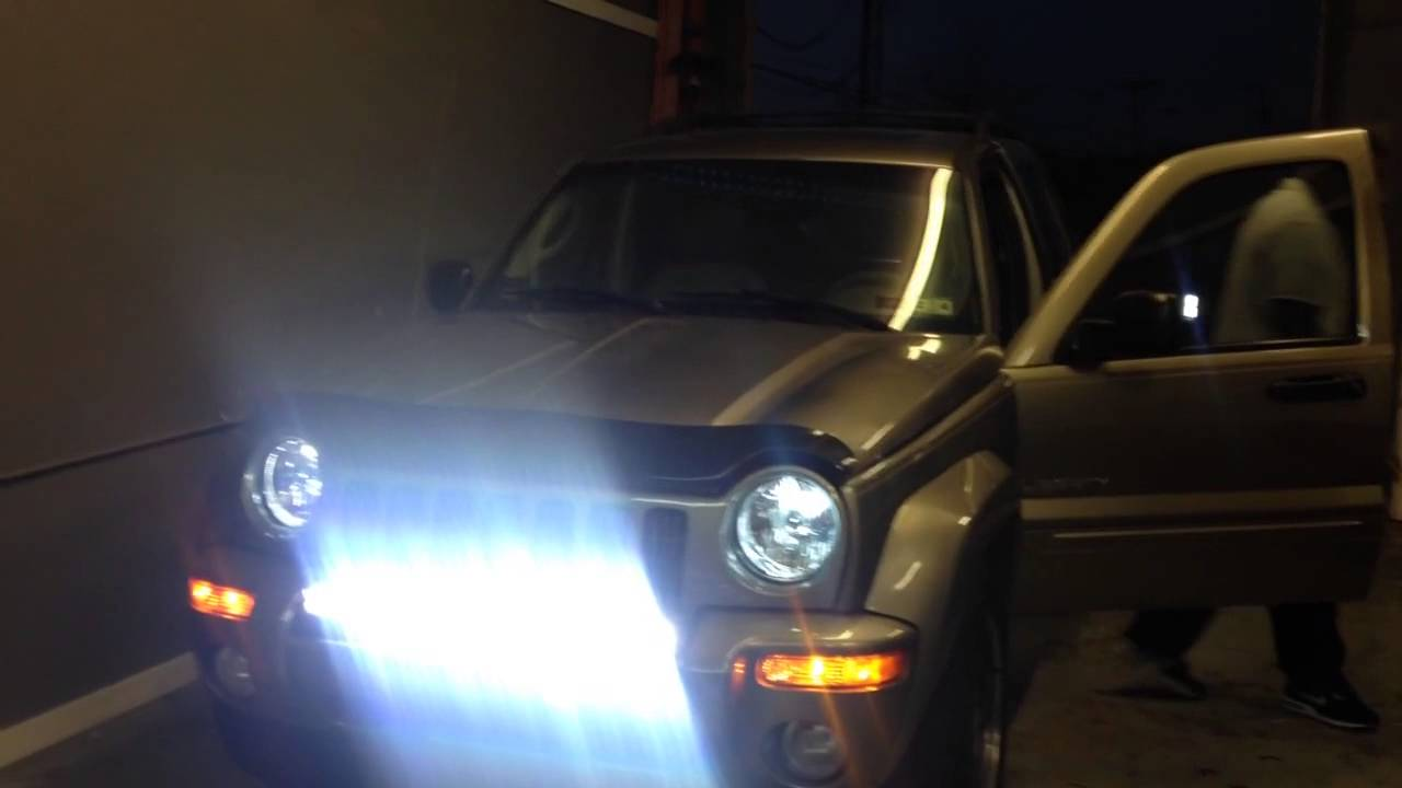 auto impressions led bar jeep liberty installed hids to. Black Bedroom Furniture Sets. Home Design Ideas