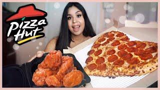 HEART SHAPED PIZZA + BUFFALO WINGS MUKBANG! PIZZA HUT EATING SHOW