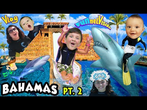 SHARKS IN THE WATER SLIDE!! Mike's Leap of Faith @ Atlantis FUNnel Family Bahamas Trip Part 2