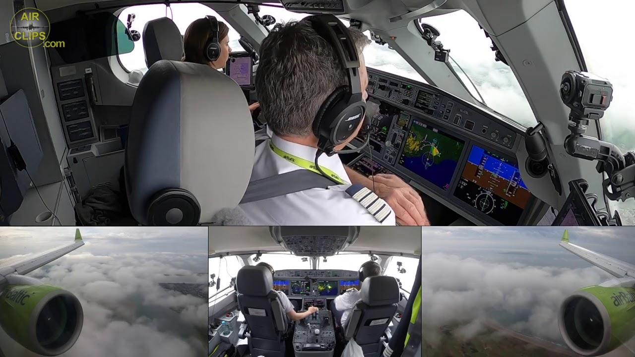 Beautiful Captain Marina lands beautiful AirBaltic A220 in not so beautiful Dublin weather[AirClips]