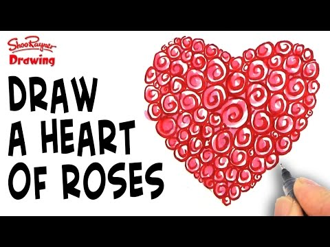 How to Draw a heart made of Roses for Mother's Day How To Draw A Rose For Mothers Day